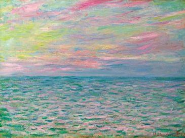 Monet Sunset at Pourville Open Sea 1882